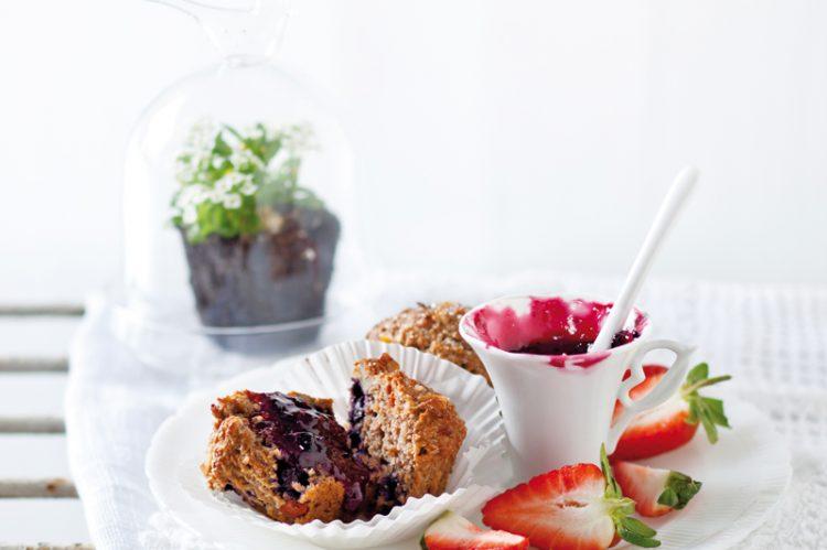 Blueberry goji berry muffins