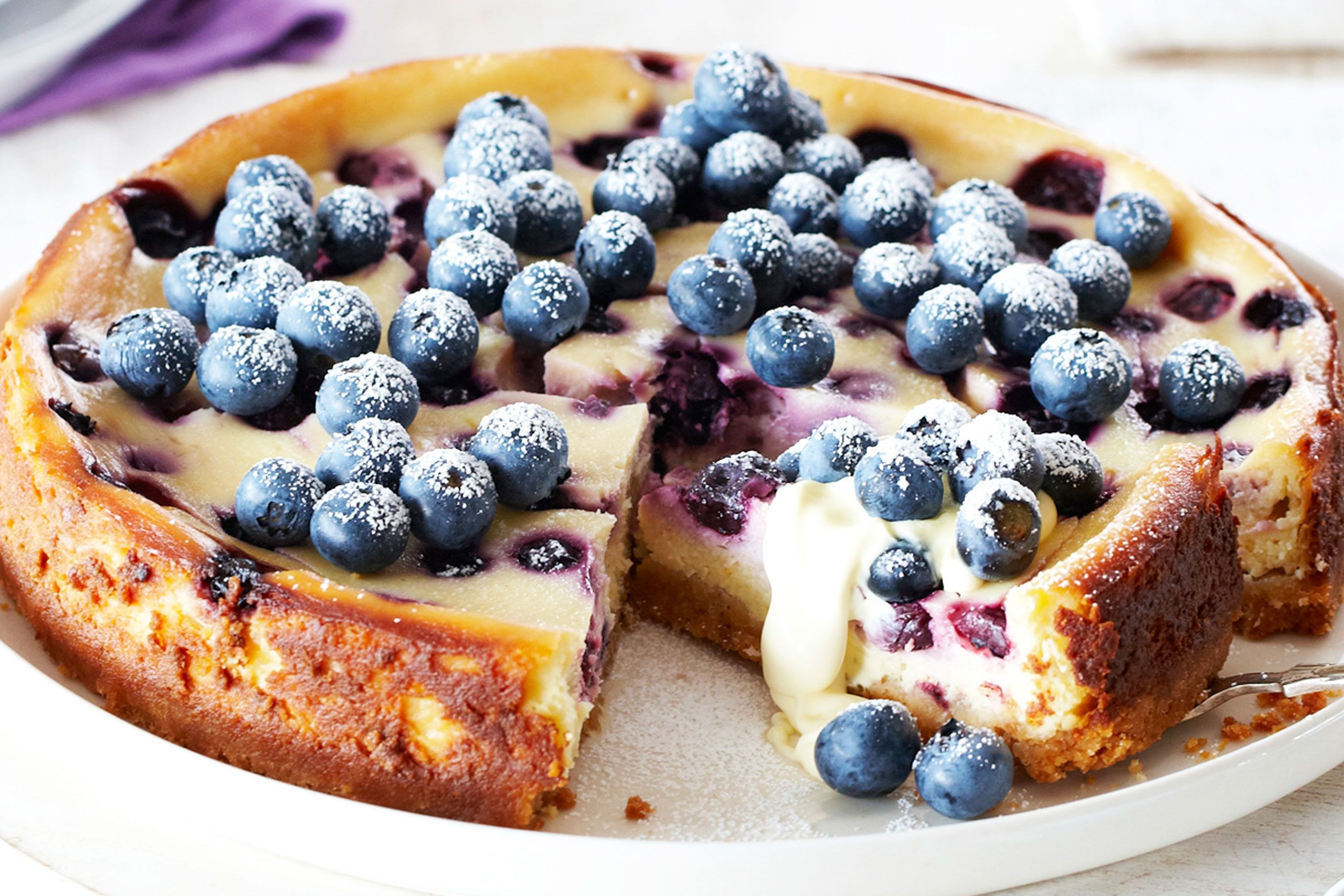 Baked Lemon Cheesecake with Blueberries Recipe